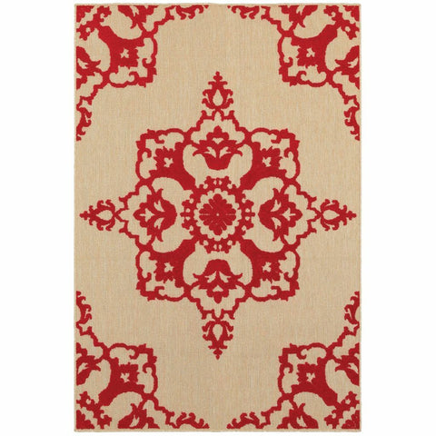 Oriental Weavers Cayman Sand Red Floral Medallion Transitional Rug