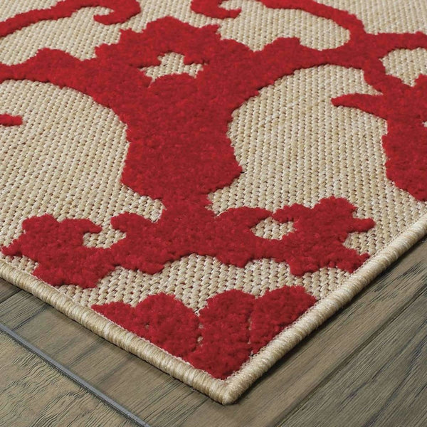 Woven - Cayman Sand Red Floral Medallion Transitional Rug