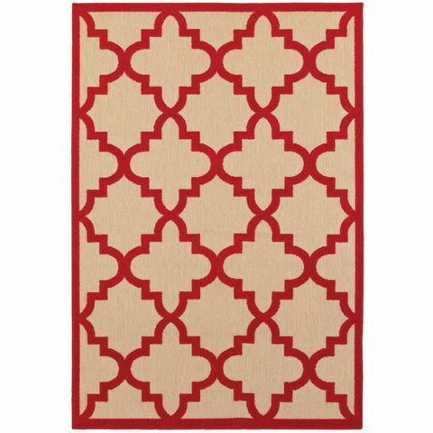 Oriental Weavers Cayman Sand Red Geometric Lattice Transitional Rug