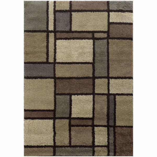 Woven - Covington Beige Midnight Geometric  Shag Rug