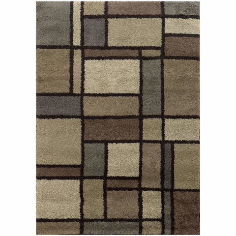Covington Beige Midnight Geometric  Shag Rug
