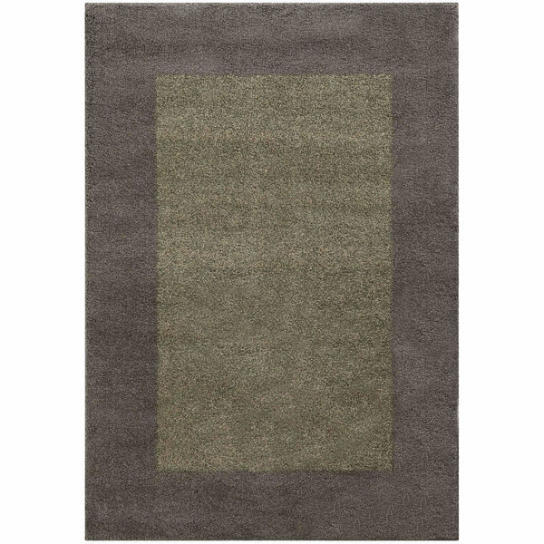 Covington Grey Beige Border  Shag Rug - Free Shipping
