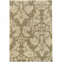Covington Ivory Beige Floral  Shag Rug - Free Shipping