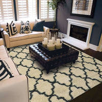 Woven - Covington Ivory Midnight Geometric  Shag Rug