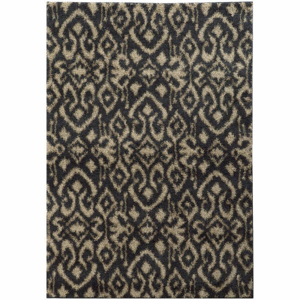 Woven - Covington Midnight Beige Abstract  Shag Rug