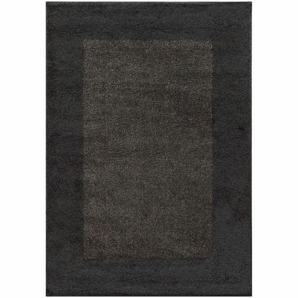 Covington Midnight Grey Border  Shag Rug - Free Shipping