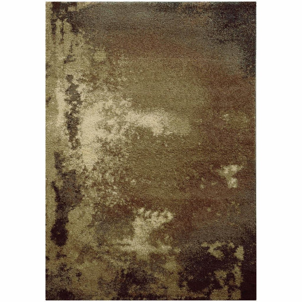 Covington Tan Grey Abstract  Shag Rug - Free Shipping