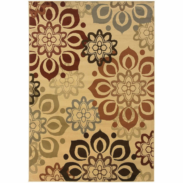 Darcy Beige Rust Floral  Transitional Rug - Free Shipping