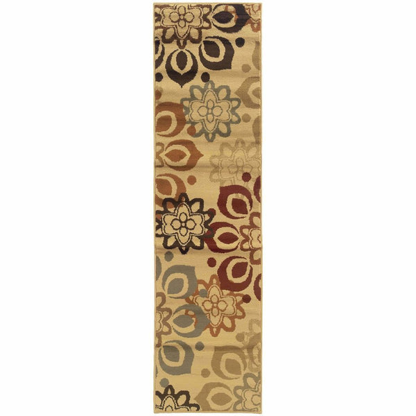 Woven - Darcy Beige Rust Floral  Transitional Rug