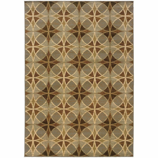 Darcy Blue Beige Geometric Circles Transitional Rug - Free Shipping