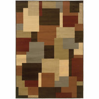 Woven - Darcy Brown Beige Geometric Blocks Contemporary Rug