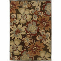 Darcy Brown Gold Floral  Transitional Rug - Free Shipping