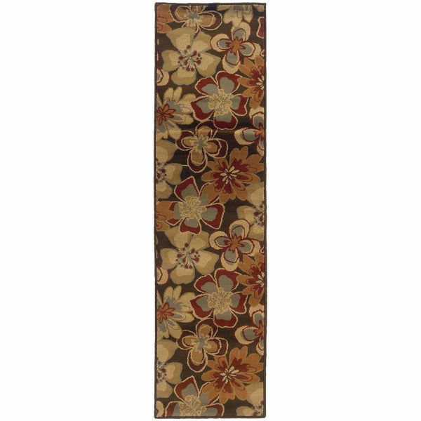Woven - Darcy Brown Gold Floral  Transitional Rug