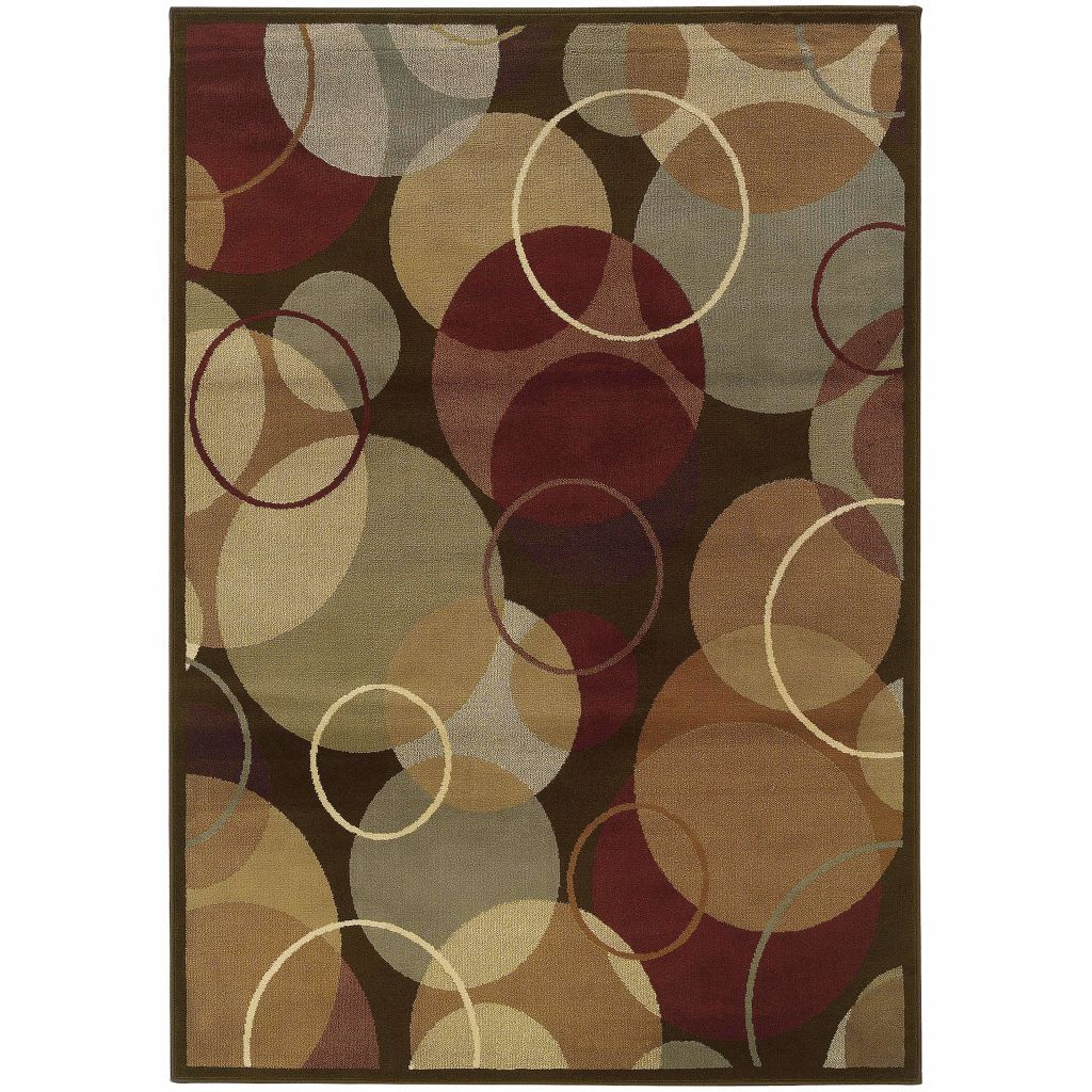Darcy Brown Gold Geometric Circles Contemporary Rug - Free Shipping