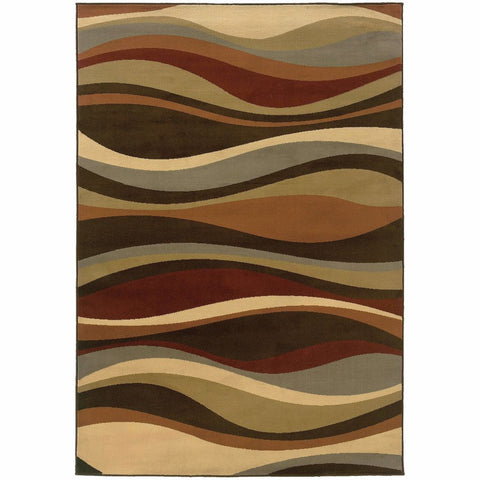 Oriental Weavers Darcy Brown Green Abstract Waves Contemporary Rug