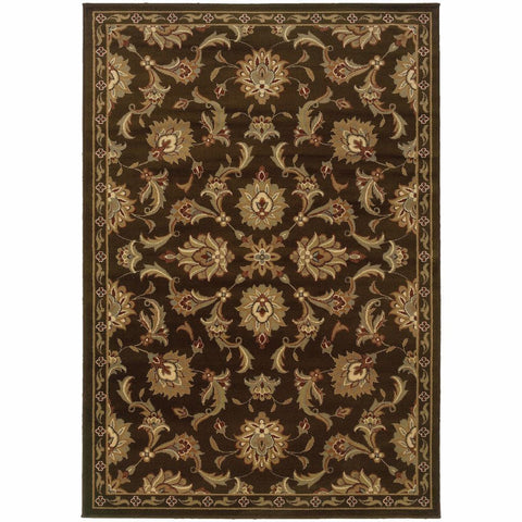 Darcy Brown Green Oriental Persian Contemporary Rug