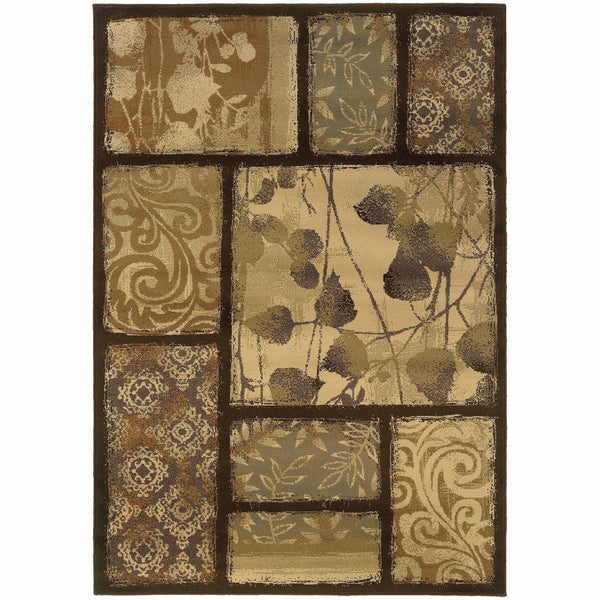 Darcy Brown Tan Floral  Transitional Rug - Free Shipping