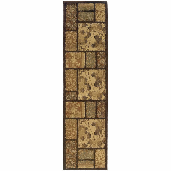 Woven - Darcy Brown Tan Floral  Transitional Rug