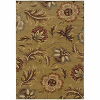 Darcy Tan Gold Floral  Transitional Rug - Free Shipping