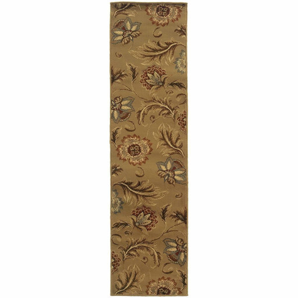 Woven - Darcy Tan Gold Floral  Transitional Rug