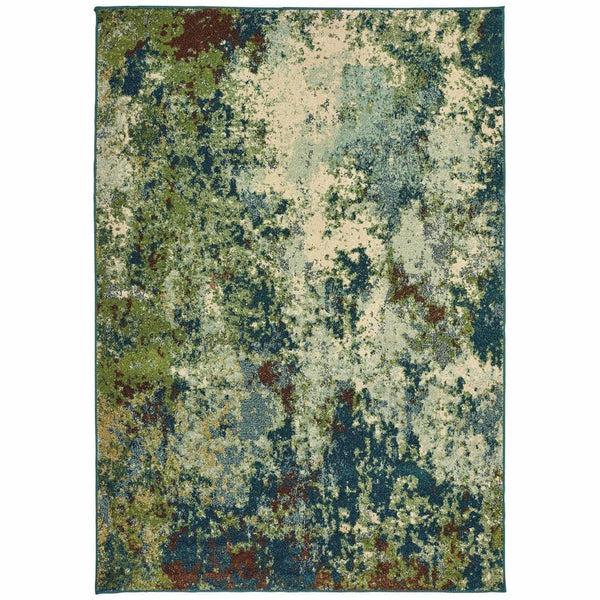 Dawson Blue Green Abstract Distressed Casual Rug - Free Shipping