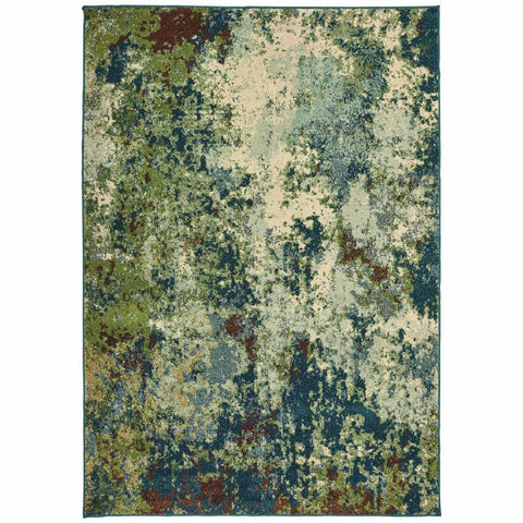 Oriental Weavers Dawson Blue Green Abstract Distressed Casual Rug