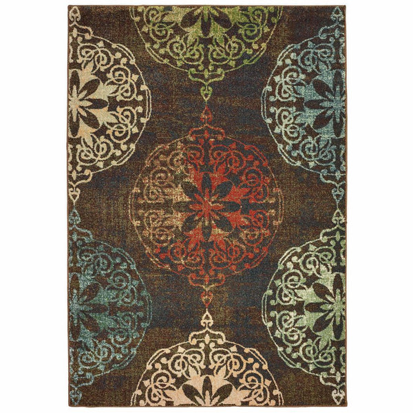 Dawson Brown Multi Oriental Medallion Casual Rug - Free Shipping