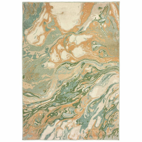 Dawson Green Gold Abstract Abstract Contemporary Rug