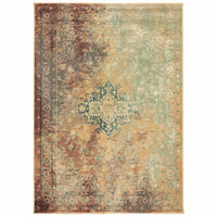 Dawson Rust Gold Oriental Distressed Casual Rug - Free Shipping