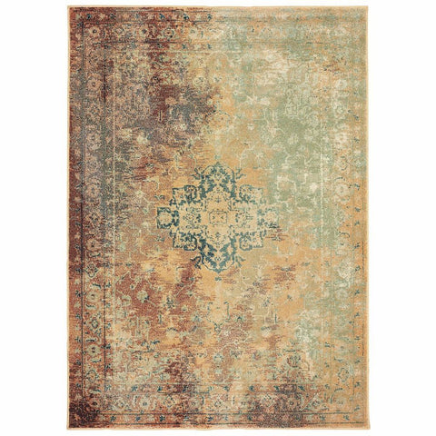 Oriental Weavers Dawson Rust Gold Oriental Distressed Casual Rug