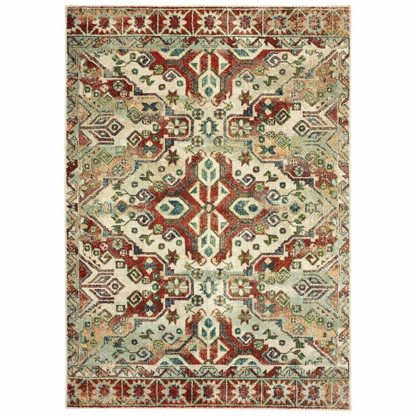 Dawson Rust Ivory Geometric Southwest/Lodge Casual Rug - Free Shipping