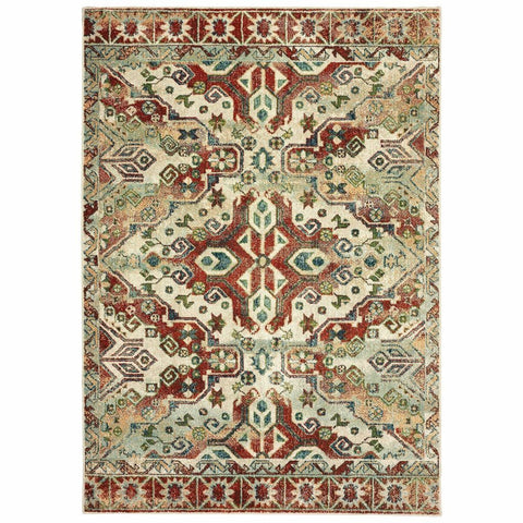Oriental Weavers Dawson Rust Ivory Geometric Southwest/Lodge Casual Rug