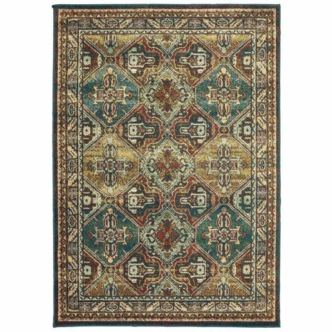 Oriental Weavers Dawson Teal Brown Oriental Tribal Casual Rug