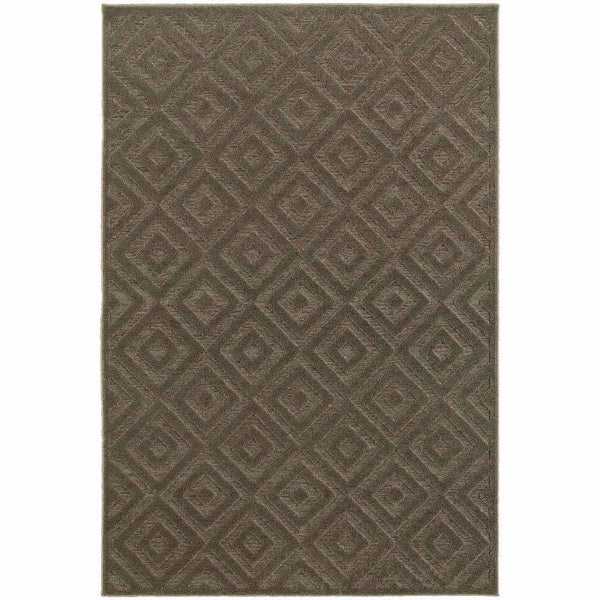 Elisa Brown Grey Geometric  Contemporary Rug - Free Shipping