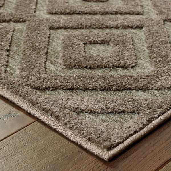 Woven - Elisa Brown Grey Geometric  Contemporary Rug