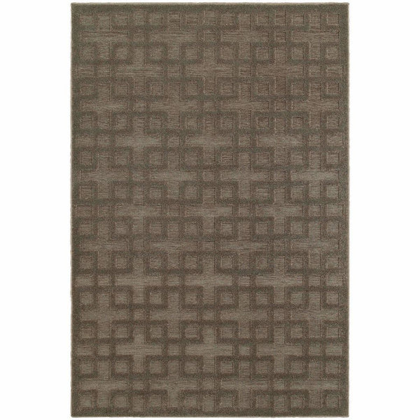 Elisa Brown Grey Geometric Lattice Contemporary Rug - Free Shipping