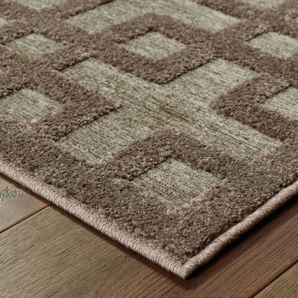 Woven - Elisa Brown Grey Geometric Lattice Contemporary Rug