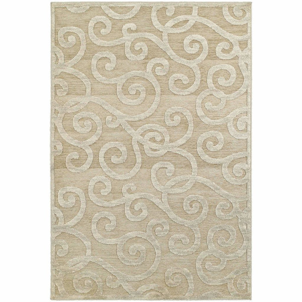 Elisa Sand Beige Solid Geometric Contemporary Rug - Free Shipping