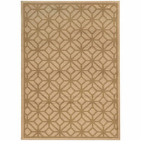 Ella Beige Tan Geometric Tile Transitional Rug - Free Shipping