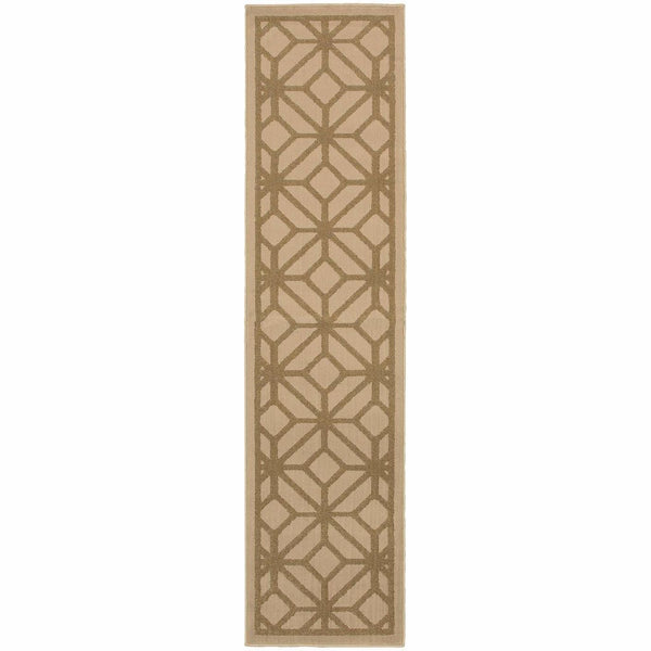 Woven - Ella Beige Tan Geometric Tile Transitional Rug