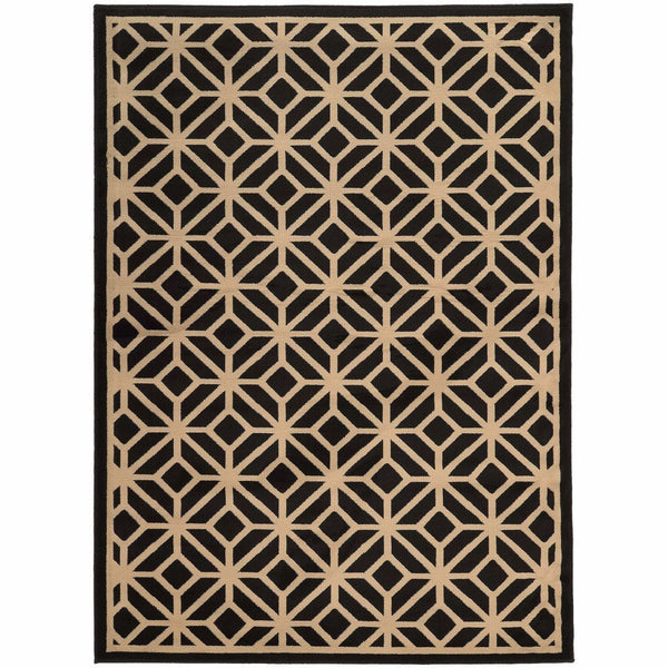 Ella Black Beige Geometric Tile Transitional Rug - Free Shipping
