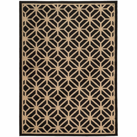 Oriental Weavers Ella Black Beige Geometric Tile Transitional Rug