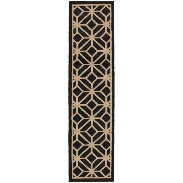 Woven - Ella Black Beige Geometric Tile Transitional Rug
