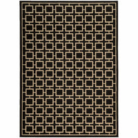 Ella Black Beige Geometric  Transitional Rug - Free Shipping