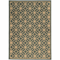 Ella Blue Beige Geometric Tile Transitional Rug - Free Shipping