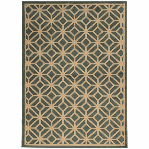 Oriental Weavers Ella Blue Beige Geometric Tile Transitional Rug