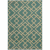 Ella Blue Light Grey Geometric  Transitional Rug - Free Shipping