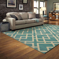 Woven - Ella Blue Light Grey Geometric  Transitional Rug