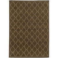 Ella Brown Beige Geometric Lattice Transitional Rug - Free Shipping