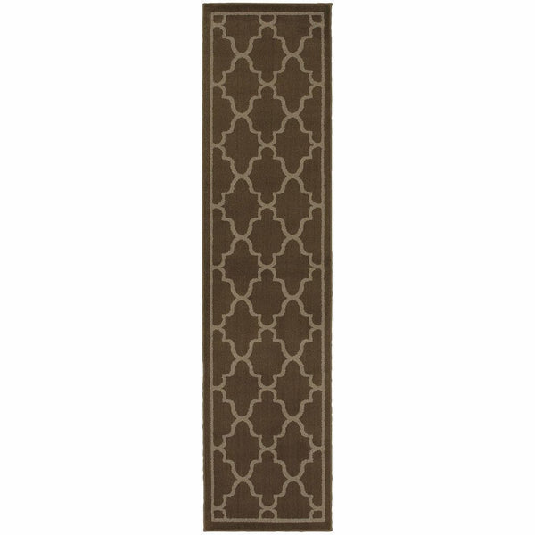 Woven - Ella Brown Beige Geometric Lattice Transitional Rug